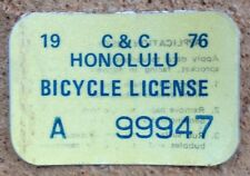1976 Gold Hawaii Bicycle License Decal retro new mint