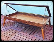 Handmade Walnut Modern-Style Shadow Box Coffee Table for Figures & Collectibles