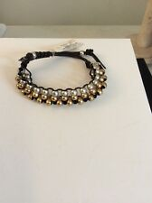 Lucky Brand Gold And Silver Tone Multi Layer Beaded Dark Leather Bracelet #173