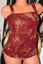 KALEIDOSCOPE deep red satin&lace  gold  thread ladies layered fitted top size 12