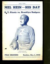 1940 New York Giants v Brooklyn Dodgers Program Mel Hein VG/Ex 2 Punch Holes