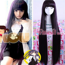 Inu x Boku SS Shirakiin Ririchiyo 100cm Purple Straight Hair Cosplay Wig+Wig Cap