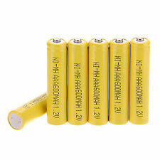 6 Pcs AAA 3A 600mAh 1.2 V NI-MH Rechargeable Battery Akkus Yellow Color