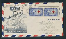 87366) Helikopterpost USA , Norwalk - New York AMF 10.12.52, Red Cross signed