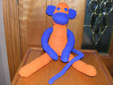 "20"" Bronco Blue & Orange Sock Monkey Hand Made New Cute! Plush Stuffed Toy"