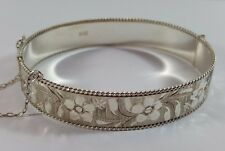 SOLID HM SILVER DAISY FLOWER ENGRAVED SNAP BANGLE HINGED CUFF BRACELET 1985