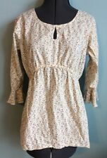 Motherhood Maternity Shirt Sz M Medium Beige Tie Back 3/4 Sleeves Keyhole Womens