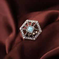 Fashion Art Deco Jewelry Women Sparkling Clear Crystal Pavé Portico Hexagon Ring