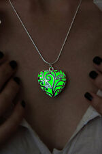 Glow In The Dark Green Heart Pendant Necklace Fairy Locket Steampunk Jewelry