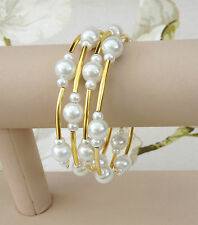 Womens Bridal White Gold Faux Pearls Memory Wire Bracelet Cuff Bride Bridsmaid