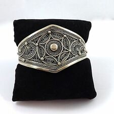 Vintage Sterling Silver Filigree Etruscan Revival Cuff Bangle Bracelet 30.3gr