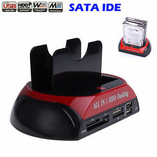 "USB 3.5""/2.5"" IDE/SATA HDD Dual Docking Station Hard Disk Drive Dock EU Plug"