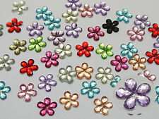 500 Mixed Color Acrylic Flatback Faceted Flower Rhinestone Gems 10mm