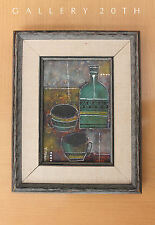 RARE! MID CENTURY MODERN ABSTRACT OIL PAINTING BY ESTRELLA! Vtg Art Eames 1950s