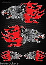 Stickers autocollants Moto casque réservoir Flames Loup  Format A4 2505