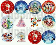 "50 x 1"" Inch Pre Cut Bottle Cap Images Christmas Xmas Characters Pictures bows"