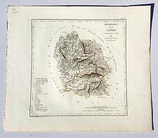 Dépt 48 - Atlas du Royaume de France Rare Carte de la Lozère Aquarellée de 1823
