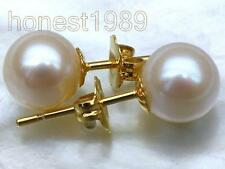 BEAUTIFUL 6.2MM AAA+++ TOP GRADE WHITE PERFECT ROUND AKOYA PEARLS EARRING 14k