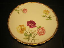 """Ornate Antique T&V Limoges Red/Yellow & Pink Roses Decorated 9"""" Porcelain Plate"""