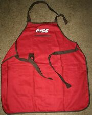 """Coca Cola"" Adult Red Apron Brown Trim w/white thread embroidered"