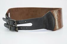NEW $262 HTC Hollywood Trading Company Wide Leather Snakeskin Wide Belt 26
