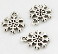 100pcs Tibetan Silver Snowflake Charms Pendants 14x11mm