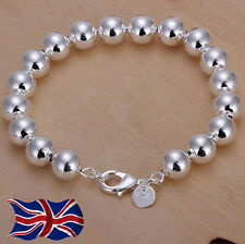 925 Sterling Silver 8mm Beaded Bracelet Ball Bead Bangle Bracelet Gift Bag UK