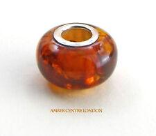 Cognac ambre & argent charm convient pour Européenne/Danois bracelets CHA63