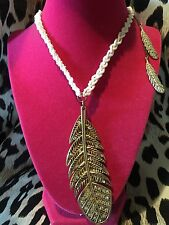 Betsey Johnson Vintage Indian Summer HUGE Feather Western White Beaded Necklace