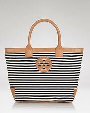 AUTHENTIC TORY BURCH SOPHIA CANVAS LEATHER TRIM TOTE BLUE STRIPE NAUTICAL