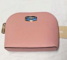 Michael Kors Cindy Saffiano Leather Travel Pouch Costmetic Case Pale Pink NWT