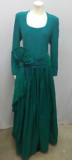 CAROLINA HERRERA 100% SILK GOWN LONG DRESS JADE AMAZING BELT SASH SIZE 10