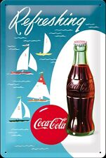 Coca Cola Sailing Boats embossed metal sign   (na 3020)  Quick despatch from UK