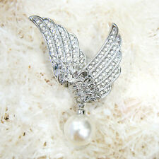 18K WHITE GOLD PLATED AND GENUINE SWAROVSKI CRYSTAL & PEARL WINGS  BROOCH