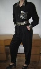 Vtg 70s Black Jumpsuit  Silver Trim by PG Collections Designed by Ginger Bort