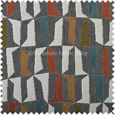 Grey Orange Yellow Green Geometric Design Soft Woven Chenille Upholstery Fabric