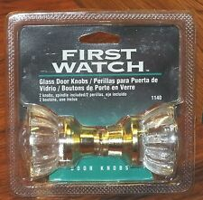 First Watch (2) Glass Door Knobs & Spindle Set - Polished Brass (1140) **NEW**