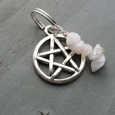 Rainbow Moonstone Pentagram Pendant Jump Ring Charm Wicca Witch Pagan Chakra