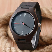 Casual Bamboo Nature Wood Genuine Leather Band Strap Men Women Wrist Watch Gift