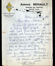 """VALLIERE (23) CONCESSIONNAIRE AUTOMOBILE RENAULT """"Louis BALLE"""" en 1938"""