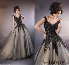 Vintage Black Gothic Halloween Appliques Wedding Dresses Bridal Gown Custom made