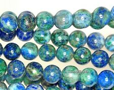 6MM AZURITE GEMSTONE BLUE GREEN ROUND 6MM LOOSE BEADS 16""