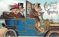 Vintg Christmas~Well Dressed Pig Couple Driven by Pig Chauffeur~NEW Note Cards