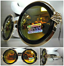 OVERSIZE CLASSIC VINTAGE RETRO Style SUN GLASSES Unique Round Black & Gold Frame