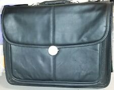 Dell Black Leather Laptop Tablet Padded Bag Shoulder Strap executive briefcase