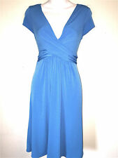 LONDON TIMES WOMENS LADIES BLUE JERSEY KNIT WASHABLE SUMMER CAREER DRESS ~SZ 8