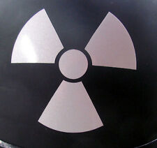 "Radioactive - REFLECTIVE helmet decal - Nice! 3"" x 2¾"""