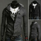 New Men's Slim Fit Sweatshirt Zip Hoody Hoodie Hooded Jacket Top Coat Black Grey