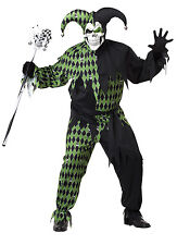 Men's Jokes On You Joker Jester Clown Halloween Costume Set Mask Pants Plus Size