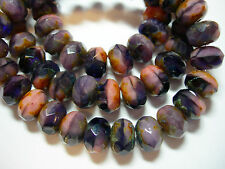 25 8x6mm Purple Pink Blend Czech Glass Picasso Rondelle beads